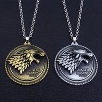 lobo colgante hombres al por mayor-Juego de tronos collar de la casa Stark Winter Is Coming Metal Family Crest colgante de joyería de regalos de regalo Maxi Wolf Punk Men