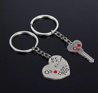 Wholesale new love romantic rings resale online - New Couple I LOVE YOU Heart Keychain Ring Keyring Key Chain Lover Romantic Creative Birthday Gift