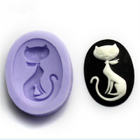 Wholesale Silica Gel Cake Mould - Ellipse Shape Silica Gel Mold Cat Fondant Cake Soap Silicone Moulds Stereo Decorating Baking Tools High Quality 3 5sq B