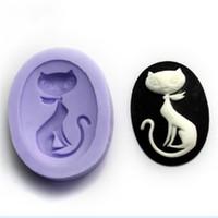ingrosso cuocere il gatto-Forma di ellisse Stampo in gel di silice Stampo in silicone per torta con fondente in silicone Stampi Stereo Strumenti di cottura di alta qualità 3 5sq B