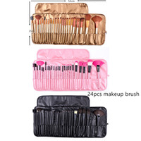 Wholesale synthetic fiber brushes for sale - Group buy 24 logs of wool fiber makeup brush set Portable makeup brushes with brush bag DHL free