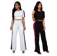 Wholesale wide legs pants suit - Patchwork Striped Short Bare Midriff Tops Suits Wide Leg Pants Bodycon Night Club Two Piece Sets OOA4929