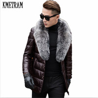 мех из овчины оптовых-KMETRAM 2017 Leather Down Cotton Men Genuine Leather With Real  Fur Mens Sheepskin Winter Jacket Men Black Parka HH507