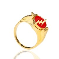 Wholesale 5.25 cluster rings for sale - Group buy MQCHUN The Flash Superhero Ring with Gold Color Flash Lighting Logo Ring Men And Women Movie Comic Jewelry