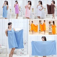 ingrosso vestito di tovagliolo magico-Magic Bath Towels Lady Girls SPA Shower Body Wrap Bath dress Robe Bathrobe Beach Dress Wearable Magic Towel 6 Color Thick Style HH7-1826