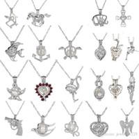 ingrosso gemme perline collana-18kgp moda amore desiderio perla / gemma perle gabbia medaglione ciondoli, fai da te collana di perle pendenti fascino 50pcs / lot
