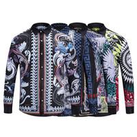 Wholesale harajuku bows - 18-19 Autumn winter Harajuku Medusa gold chain Dog Rose print shirts Fashion Retro floral sweater Men long sleeve tops shirts M-2XL