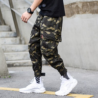 ingrosso stile militare di jogger-Moda pantaloni mimetici esercito uomo jogger jeans alla caviglia streetwear stile punk hip hop jeans uomo grande tasca pantaloni cargo