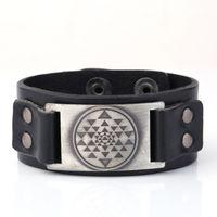 буддийские браслеты оптовых-Высококачественный кожаный браслет Буддийская буддийская священная геометрия Sri Yantra Mandala Meditation Bracelets Bangles For Men Gift
