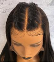 ingrosso yaki 18-Parrucche piene del merletto dei capelli del premier 360 Parrucche diritte vergini brasiliane dei capelli umani di separazione profonda Yaki diritte parrucche del pizzo di densità di 150%