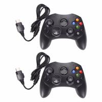 controladores de xbox negro al por mayor-2 Unids / lote Moda Negro Controlador de Juego por Cable Pad de Juego Joystick para Microsoft XBOX S Tipo Tipo 2 Gamepad Con 1.47m Cable