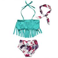 biquíni pcs venda por atacado-Crianças Floral Swimwear meninas headband + tassel top + shorts 3 pçs / set 2018 verão Biquíni Crianças Maiô C3876