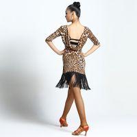 traje latino venda por atacado-Vestido de Dança latina Trajes de Samba Salsa Roupas Mulheres Competição Vestidos Senhora Leite De Seda Franjas Saia Latino Desgaste Prática DN1423
