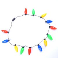 Wholesale Led Christmas Lights Necklace - Multi-color LED Light Up Christmas Bulb Necklace Party Favors Adults Kid Great