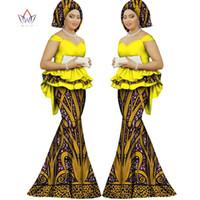 afrikanische drucke meerjungfrau kleider großhandel-2018 Frühlingsrock-Set afrikanisch entworfene Kleidung traditioneller Bazin-Print Bazin Riche plus Größenrock-Abendkleid WY1312