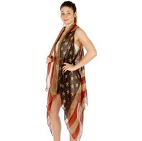 Wholesale beach cover up cotton - Women's Summer American Flag Beach Cover up Poncho Tunic Top Scarf Wrap Flag CapeFaded American Flag Sleeveless Cardigan Vest