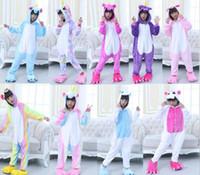 Wholesale kids kigurumi - Unicorn Cosplay Costumes Onesie Pajamas Kigurumi Jumpsuit Hoodies Kids Romper For Halloween Mardi Gras Carnival 5 p