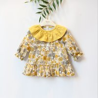 Wholesale Retro Baby Dresses - 2018 NEW arrival Hot selling spring Girls long Sleeve cotton dress baby kids flower printed Lovely collar Retro color Dress free ship
