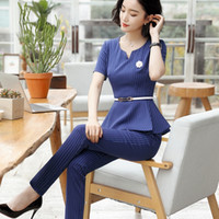 Wholesale women working suits design - Formal Uniform Design Short Sleeve 2018 Summer Female Pantsuits Ladies Office Work Wear Tops And Pants Suits Trousers Set Black