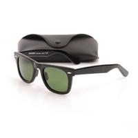 schöne sonnenbrille großhandel-Schöne Planke schwarz Sonnenbrille Heiße Verkäufe Hochwertige Glaslinse Grüne Linse schwarz weiße Sonnenbrille Männer Frauen Strand Sonnenbrille Metall Scharnier