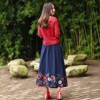 bordados vestidos de linho chinês venda por atacado-2018 primavera novo estilo chinês estilo folk melhoria cheongsam bordado jaqueta de linho meia saia de algodão