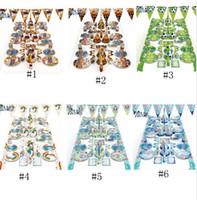 meerjungfrau party platten großhandel-Halloween Meerjungfrau Party Set Geburtstag Einhorn Party Supplies Dekoration Meerjungfrau c Papierbecher Banner Platten Cartoon Zubehör GGA1094