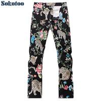 denim estampado de flores al por mayor-flores leopardo de la manera pantalones vaqueros impresos Sokotoo entalladas hombre negro ligero denim pantalones