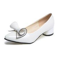 rote brautschuhe niedrige fersen groihandel-Schuhe Frauen Bow Low Heels Damen Heels Brautschuhe Lackleder Schuhe Weiblich Weiß Rot Heels Escarpins Femme 2018 Plus Größe 42 43