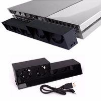 controlador ps4 más frío al por mayor-Controlador vertical Cargador Dock USB Turbo externo Control de temperatura Enfriamiento 5 Ventilador Cooler para Sony Playstation 4 Consola PS4 7