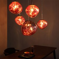 Wholesale tom dixon lighting copper for sale - Modern D30 CM Tom DIXON Melt Pendant Lights Glass Lava Irregular Silver Gold Copper Mirror Hang Lamp for Living Room Lighting