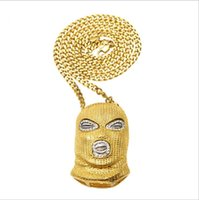 Wholesale plastic gold rope necklace - Hip Hop CSGO Pendant Necklace Mens Punk Style 18K Alloy Gold Silver Plated Mask Head Charm Pendant High Quality Cuban Chain
