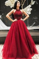 Wholesale vintage evening dresses for sale - For Sale Plus Size Ball Gown Prom Dresses Jewel Neck Sleeveless Tulle Sweep Train Evening Gowns Formal Dresses
