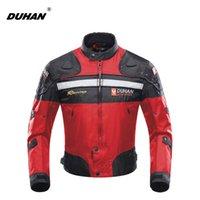 jaqueta moto vermelha venda por atacado-Duhan motocicleta jaqueta de moto à prova de vento jaqueta de corrida armadura de proteção do motor do inverno jaqueta de moto vermelho