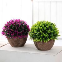 ingrosso piante da giardino decorazione-Vaso di piante artificiali Set di piante in plastica Bonsai Fiore artificiale in vaso Wedding Home Garden Decorazione dell'ufficio