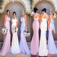 Wholesale convertible neckline bridesmaid dresses for sale - Mermaid Long  Bridesmaid Dresses with Tulle Sashes Convertible 42da35149424