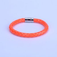 bracelets enroulés jaune achat en gros de-Simple Punk 6mm Orange Jaune Rose En Macramé En Cuir Fermoir Magnétique Wrap Bracelets Bracelets Pour Homme Femmes Couple Unisexe Bijoux