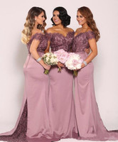 Wholesale Lace Sweetheart Top - Off the Shoulder Plus Size Bridesmaid Dresses 2018 New Sexy Vintage Lace Top with Train Beaded Cheap Maid of Honor Gowns Long Formal Gowns