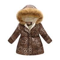 ingrosso ragazze abiti caldi-Nuova peluche per bambini moda retrò con stampa leopardata ragazza piumino snowsuit ragazzo giacca invernale caldo abbigliamento per bambini