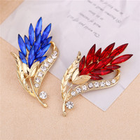 Wholesale feather corsages - Multi-color Crystal Flower Brooches Rhinestone Brooch Feather Brooch Pin Fashion Jewelry Coat Dress Corsage Bijouterie Broches