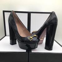 zapatos de mesa al por mayor-Venta caliente dama de piel de vaca tacón alto solo botas diseñador de moda de alta calidad dama tacón grueso zapato mesa de agua 4 cm talón