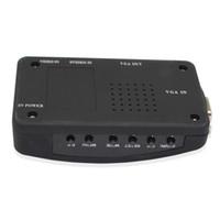 ingrosso scatola convertitore tv portatile-PC portatile Composito Video TV RCA Composito S-Video AV In PC VGA LCD Convertitore adattatore Switch Box Nero con cavo dc