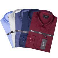 Wholesale High Collar Dress Shirt Men - Wholesale 2018 New Brand Spring Autumn Casual Long Sleeve Men Shirt High Quality Cotton Formal Business Plaid Mens Dress Shirts Plus Size