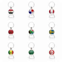 Wholesale world cup country flags for sale - Group buy Bottle Opener Country Flag Stainless Steel Flat Key Chains Ring For World Cup Soccer Fans LJJN7