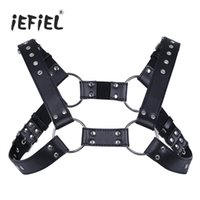 Wholesale Leather Clothes For Black Men - iEFiEL Sexy Men Lingerie Faux Leather Adjustable Body Chest Harness Bondage Costume with Buckles for Men's Clothing Accessories