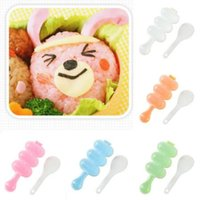 Wholesale Making Rice - 2pcs set 3 Grids DIY Rice Ball Making Shake Mold Kids Food Maker Tool Mother Helper Kids Food Maker Tool Sushi Tools CCA9803 100set