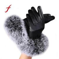 перчатки кролика перчатки оптовых-Feitong Brand 2018 New Women leather mittens Gloves Autumn Winter Warm Rabbit Fur tactical gloves Mittens eldiven female