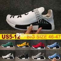 Wholesale Womens Shoes Size 14 - 2018 Big size NMD HUMAN RACE Trail boost Mens Running shoes nmds ultra boosts yellow black white womens Sport sneakers 14 colors US 5-12