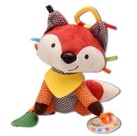 bebekler için sevimli puset toptan satış-Sevimli fil aslan köpek tilki bebek arabası yatak araba çan asılı oyuncak dış bebek peluş oyuncak rüzgar çanları çıngıraklar oyuncak