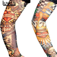 поддельные татуировки кожи оптовых-LUVCLS 6pcs Skin Protect Nylon Stretchy Fake Tattoo Sleeves Arm Stockings Design Body Cool Men Unisex Fashion Arm Warmer Hot