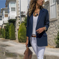 ofis stili takımları toptan satış-Moda Sonbahar Kadın Takım Elbise Rahat Katı Uzun Kollu Blazers OL Stil Ince Ofis Lady İş Ceket Blazer Tops Mujer